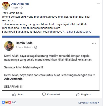 ade armando, Ditantangan Jawara Bekasi, Ini Balasan Ade Armando