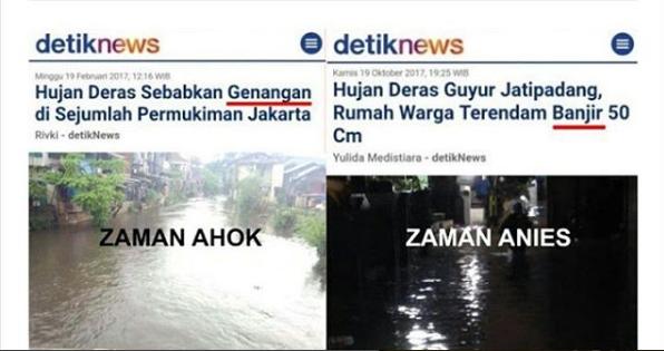 Ironi Media, Zaman Ahok Disebut 'Genangan', Zaman Anies langsung Disebut 'Banjir'