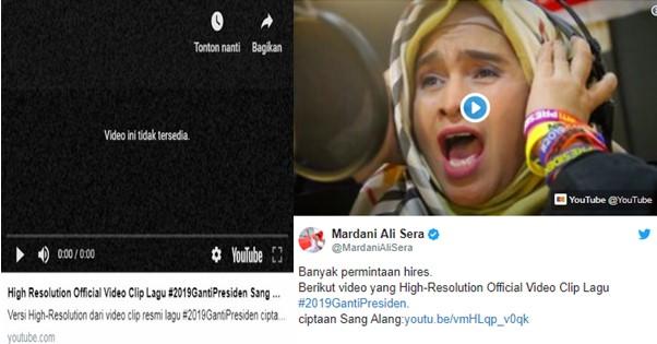 """Video Lagu #2019GantiPresiden Tiba-tiba Raib dari Youtube, Warganet: """"Cebong kepanasan, panasnya tinggi sekali.."""""""