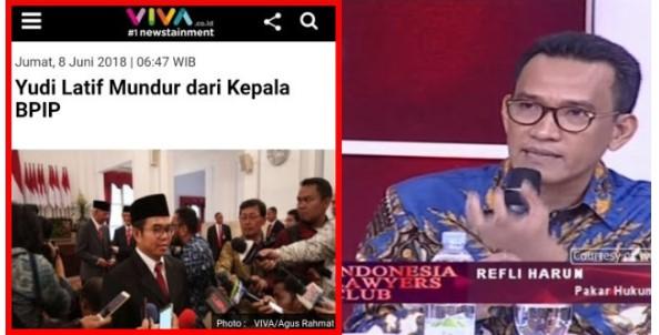 Yudi Latief Mundur dari Kepala BPIP, Refly Harun Beri Tanggapan Mengejutkan!