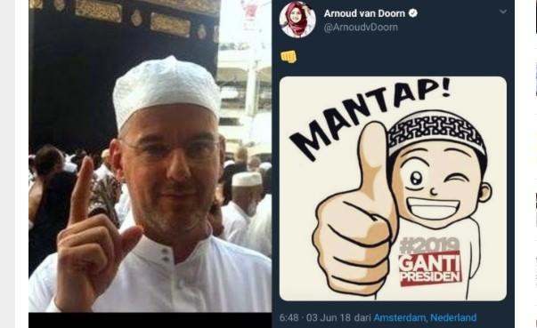 HEBOH! Arnoud Van Doorn Politisi Belanda Yang Mualaf itu Posting Gambar #2019GantiPresiden